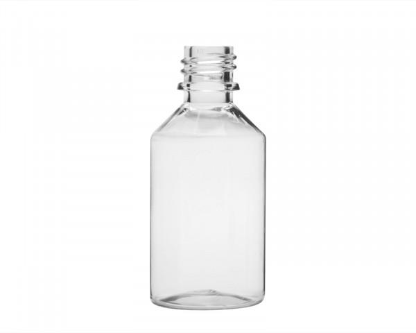 50 ml PET-Flasche aus formstabilem Kunststoff mit 18 mm Gewinde