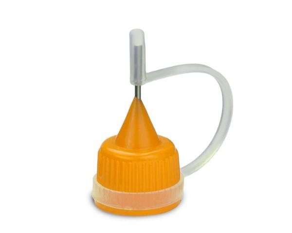Tropfverschluss mit gelber Nadelkappe für 14 mm Gewinde