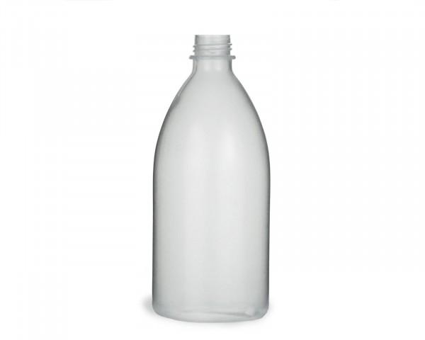 500 ml Quetschflasche aus LDPE mit 25 mm Gewinde, natur, transparent, leer, ohne Deckel