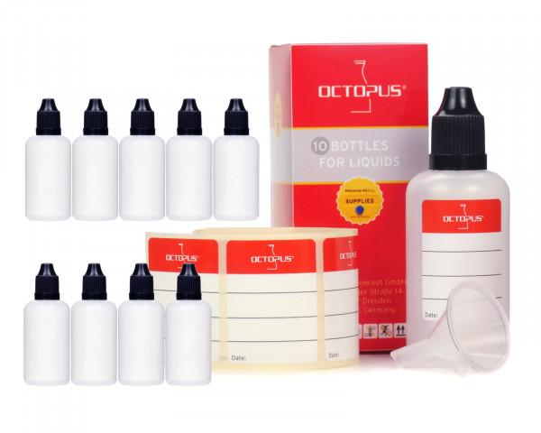 10 Plastikflaschen 50 ml LDPE, G14, Tropfeinsatz, Deckel schwarz, 1 Mini-Trichter