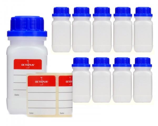 10x 100 ml Weithalsflaschen mit Schraubverschluß, Chemiekalienflasche, Laborflasche