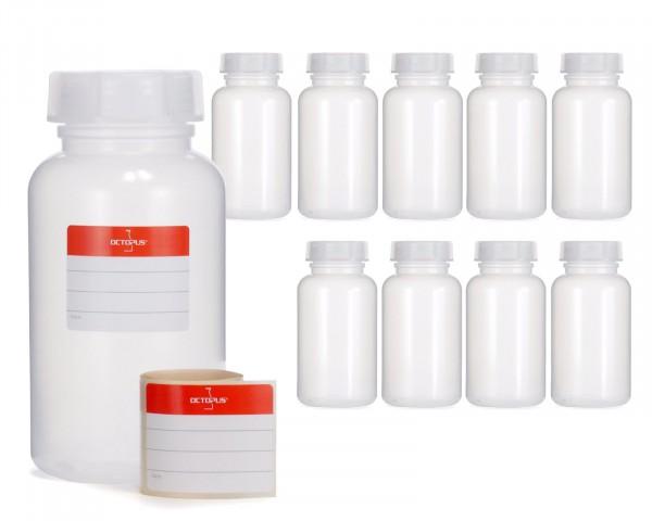 10x 500 ml Weithalsflasche mit Schraubverschluß, Chemiekalienflasche, Laborflasche