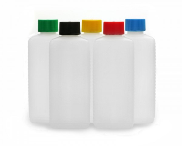 5 Plastikflaschen 250 ml eckig aus HDPE mit farbigen Schraubverschlüssen