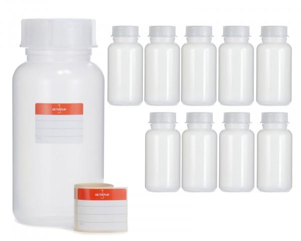 10x 1000 ml Weithalsflasche mit Schraubverschluß, Chemiekalienflasche, Laborflasche
