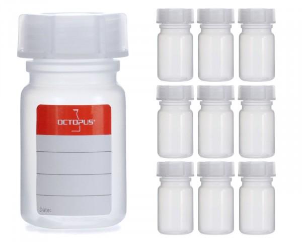 10x 50 ml Weithalsflasche mit Schraubverschluß, Chemiekalienflasche, Laborflasche