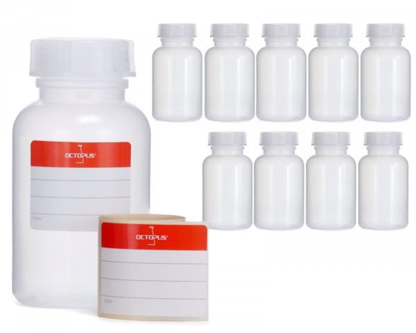 10x 250 ml Weithalsflasche mit Schraubverschluß, Chemiekalienflasche, Laborflasche