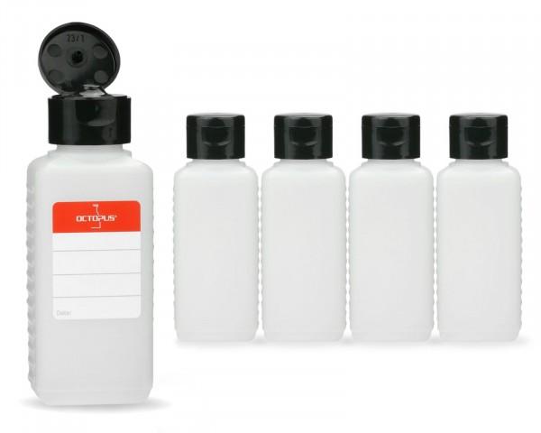 5 x 100 ml Plastikflaschen aus HDPE mit schwarzen Klappverschlüssen