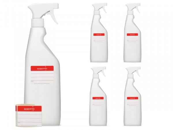 750 ml Sprühflaschen aus HDPE natur, G28, Sprühpistole weiß
