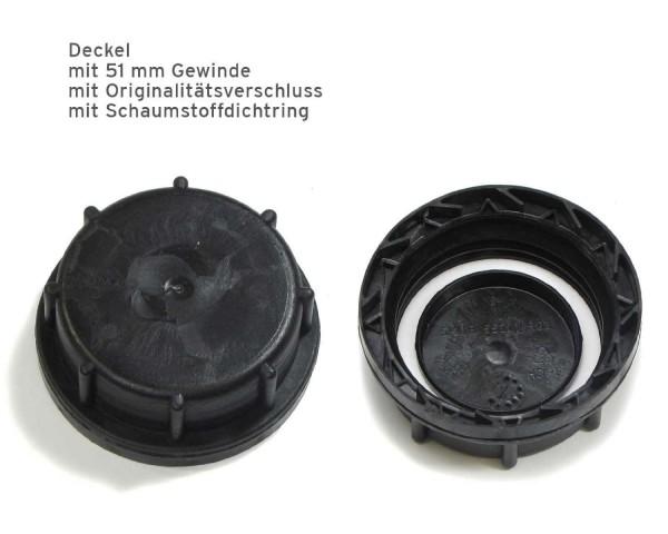 Kanisterverschluss für DIN 51 Gewinde, schwarz mit PE-Schaumdichtungsring und Originalitätsring