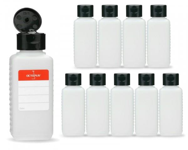 10 x 100 ml Plastikflaschen aus HDPE mit schwarzen Klappverschlüssen