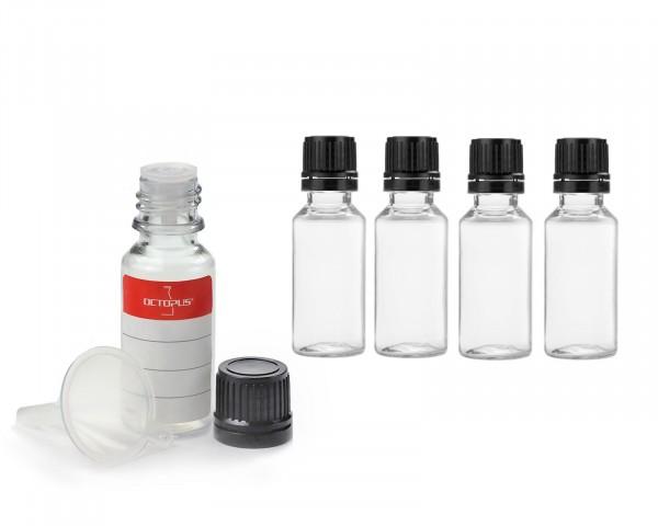 5x 20 ml PET Flasche mit Tropfverschluss (G18) und Minitrichter