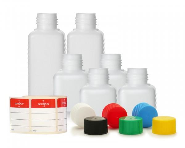 6x HDPE Kunststoffflaschen mit bunten Schraubverschlüssen