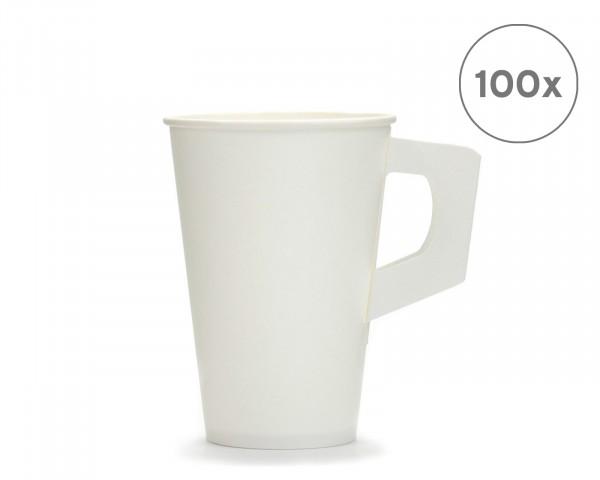 100x Kaffeebecher, Henkel-Becher 200 ml, Einwegbecher, Pappbecher mit Henkel weiß
