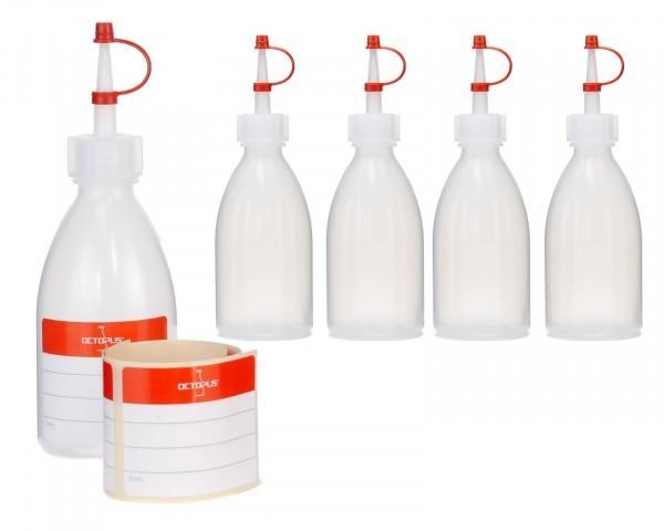 5 x 100 ml Quetschflaschen, Kunststoffflaschen aus LDPE mit Tropfverschluss, Garnierflaschen