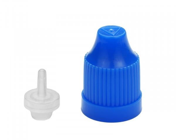 Tropfverschluss mit Kindersicherung in blau mit 14 mm Gewinde