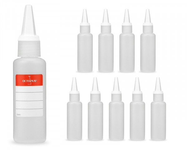 10 x 50 ml Plastikflaschen aus HDPE mit weißen Spritzverschlüssen