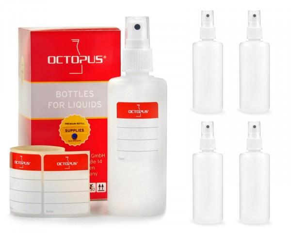5 x 100 ml Sprühflaschen aus HDPE mit Fingerzerstäuber