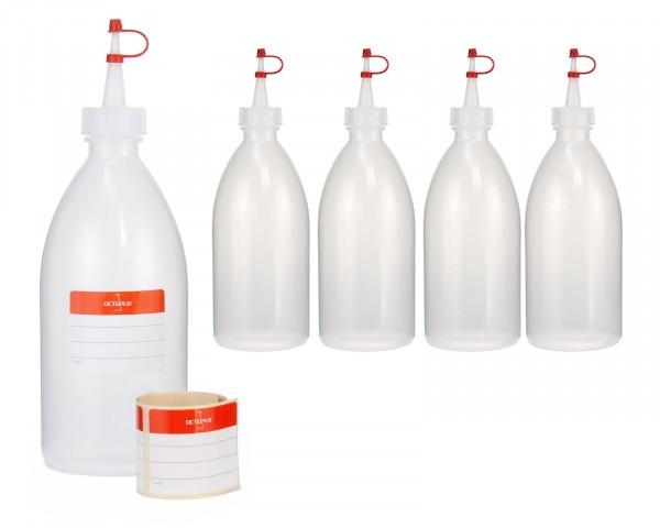 5 x 500 ml Quetschflaschen, Kunststoffflaschen aus LDPE mit Tropfverschluss, Garnierflaschen