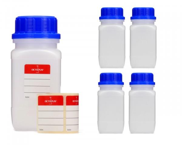 5x 250 ml Weithals-Flaschen mit Schraubverschluß, Chemiekalienflasche, Laborflasche