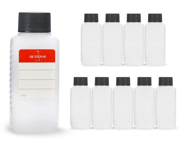 10 x 100 ml Plastikflaschen aus HDPE mit schwarzen Schraubverschlüssen