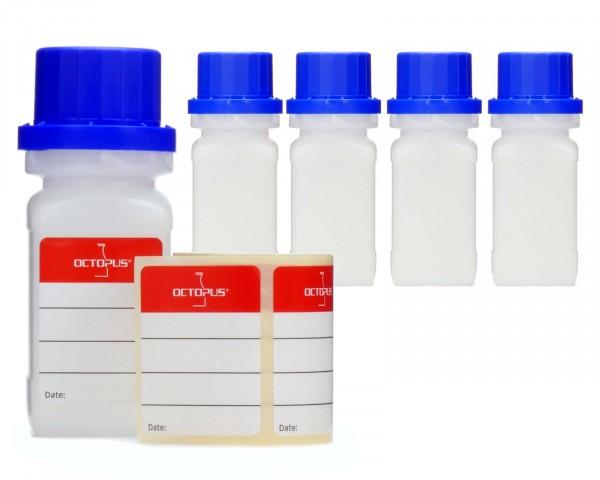 5x 50 ml Weithalsflaschen mit Schraubverschluß, Chemiekalienflasche, Laborflasche