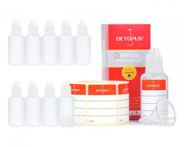 10 x 30 ml LDPE Tropfflaschen mit weißen Deckeln + Trichter