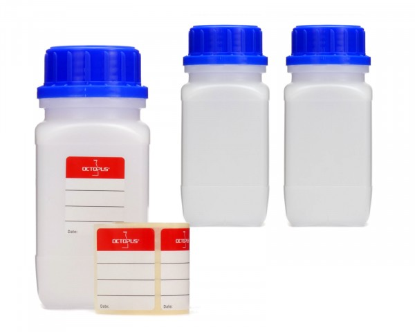 3x 250 ml Weithalsflaschen mit Schraubverschluß, Chemiekalienflasche, Laborflasche