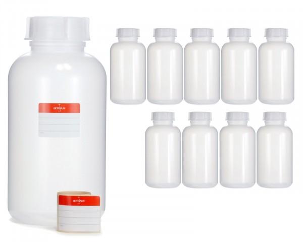 10x 2000 ml Weithalsflasche mit Schraubverschluß, Chemiekalienflasche, Laborflasche