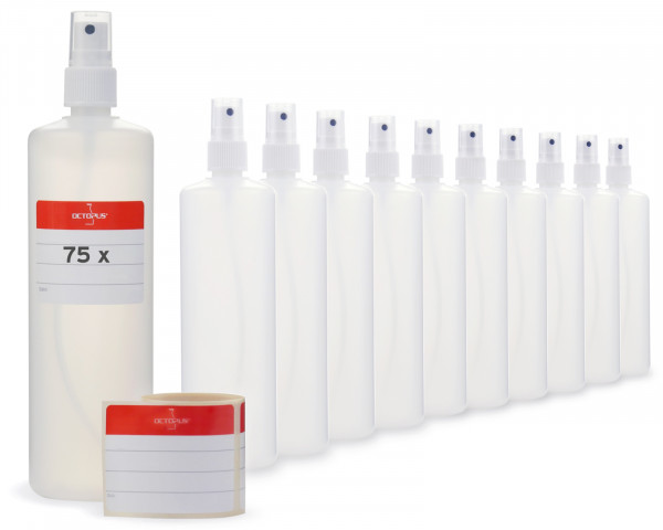 75 Plastikflaschen 250 ml aus HDPE, natur, G18, Fingerzerstäuber aus PP, weiß, klare Überkappe