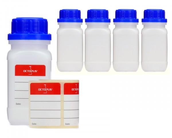 5x 100 ml Weithalsflaschen mit Schraubverschluß, Chemiekalienflasche, Laborflasche