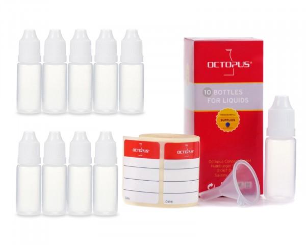 10 x 10 ml LDPE Tropfflaschen mit weißen Deckeln + Trichter
