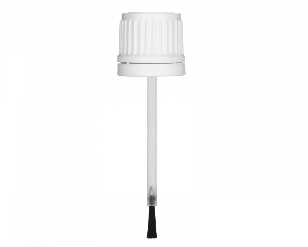 Pinselverschluss aus PE, weiß, G18, Originalitätssicherung, 70 mm Länge für 20 ml Braunglasflaschen